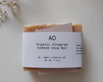 Organic Gingered Almond Coca Nut Soap Creamy Fresh, Gorgeous Hand-Created Tones + Boosts + Revives Skin