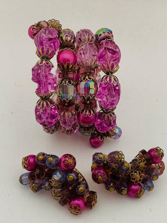 Purple Hobe spectacular stretchy bracelet and matc