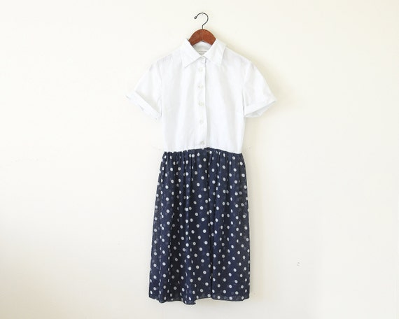 60s polka dot dress / shirts dress / two tone dre… - image 1