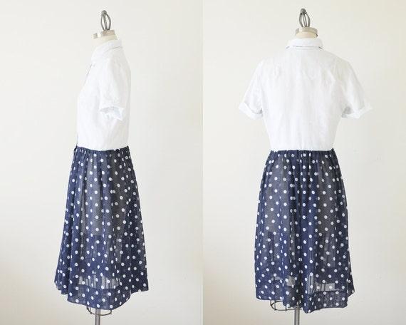 60s polka dot dress / shirts dress / two tone dre… - image 4