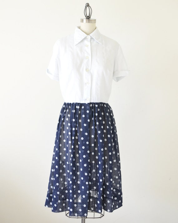 60s polka dot dress / shirts dress / two tone dre… - image 2