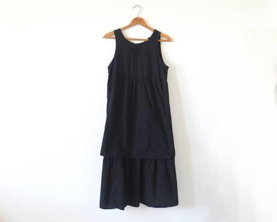 70s black layered dress / vintage black apron dres
