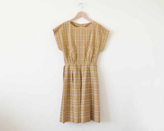 1950s day dress / plaid dress / vintage mustard dr