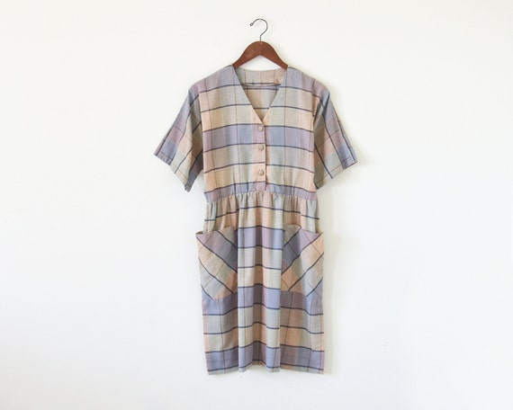 80s pastel dress / oversize dress / vintage plaid
