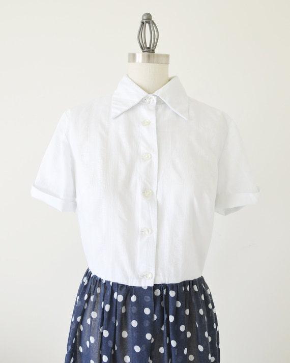 60s polka dot dress / shirts dress / two tone dre… - image 3