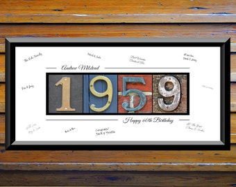 60th Birthday Gifts For Women Men 60 Year Decorations Banner Guestbook Guest Book 1959