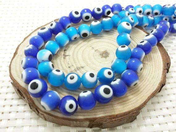 8 mm 10 mm Evill Eye Beads Evil Eye Round Beads  5eb97f1be34d