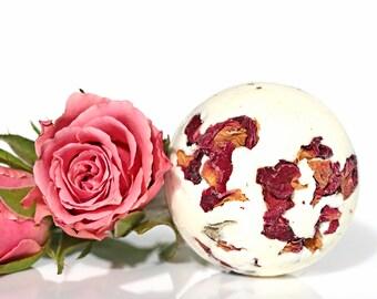 Rose Petal Bath Bombs   Deluxe Large Bath Bomb   Moisturizing Bath Fizzy   Handmade Gifts   Natural Bath Products   Organic Rose Petal Bath