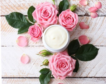 Rose Body Cream   Floral Moisturizer   Floral Lotion   Whipped Body Butter   Rose Cream   Gifts for Her   Natural Body Products for Dry Skin