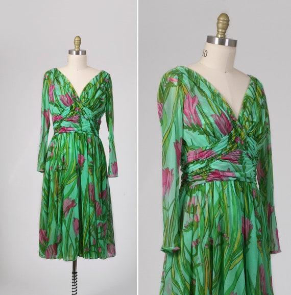 Vtg 1970s Semi Sheer Fresia Dress