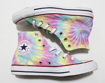 713997104143 Tie Dye Converse Shoes - Neon Pastel Colors - Can be Customized