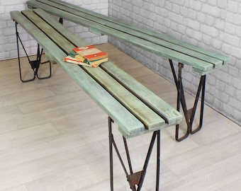 Vintage industrial chic retro salvaged mid century folding school bench seating 1950's 1960's