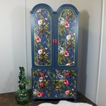 French style painted armoire wardrobe with vibrant tropical, jungle & lemur decoupage vintage baroque rococo Louis XV