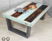 Unique vintage industrial chic reclaimed timber salvaged painted coffee table one off