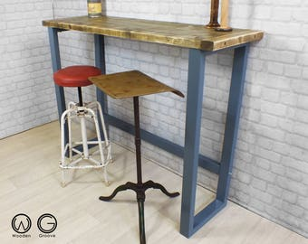 Console breakfast bar height table rustic reclaimed timber vintage industrial chic desk reuse