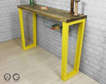 Console hallway table rustic reclaimed timber vintage industrial chic with storage reuse