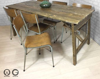 Vintage industrial chic dining table rustic reclaimed timber folding table trestle desk