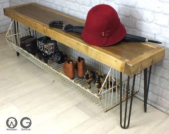 Hallway shoe storage bench seat with storage rack hairpin legs reclaimed timber industrial chic