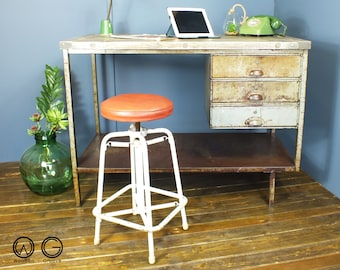 STOCK CLEARANCE!!! NOW 180, vintage industrial chic french metal desk workbench mid century retro factory salvaged reclaimed restored 1960's