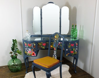 NOT FOR SALE - possible commission: French style painted dressing table with vibrant tropical, jungle & lemur decoupage