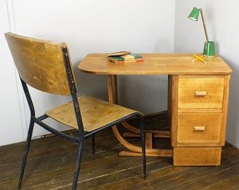STOCK CLEARANCE!!! NOW 180, Child's oak school desk reclaimed restored salvage retro vintage industrial mid century 1940's