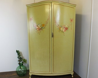 French style crackle glaze painted armoire wardrobe with vibrant hand painted floral motif vintage baroque rococo Louis XV