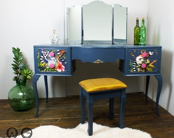French style painted dressing table with vibrant tropical, jungle & lemur decoupage vintage baroque rococo Louis XV