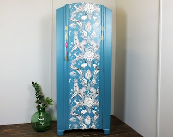 French style painted armoire wardrobe with vibrant tropical, jungle decoupage vintage baroque rococo Louis XV