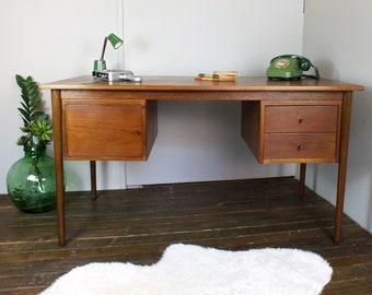 Danish teak desk mid century retro vintage Scandinavian desk dresser eames era 1950's 1960's