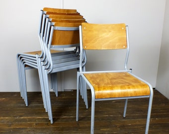 Six 6 x adult size school stacking chairs bent plywood metal frames vintage industrial retro 1950's 1960's