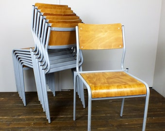 Eight 8 x adult size school stacking chairs bent plywood metal frames vintage industrial retro 1950's 1960's
