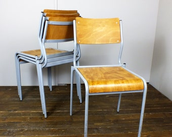 Four 4 x adult size school stacking chairs bent plywood metal frames vintage industrial retro 1950's 1960's