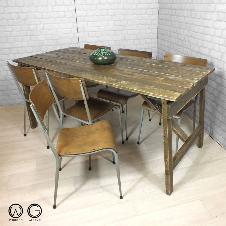 Vintage industrial chic dining table rustic reclaimed timber image 0