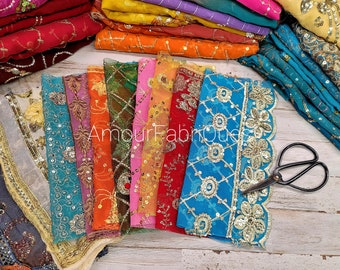KK Vintege Dupatta Long Stole Chiffon Silk Hand Embroidered Kantha Shawl