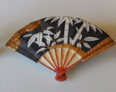 Vintage 1960s Toshikane Arita Porcelain Fan Earrings and Matching Brooch Pin