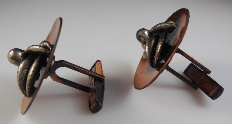 Vintage 1960s Modernist Copper Cufflinks Pat Pend