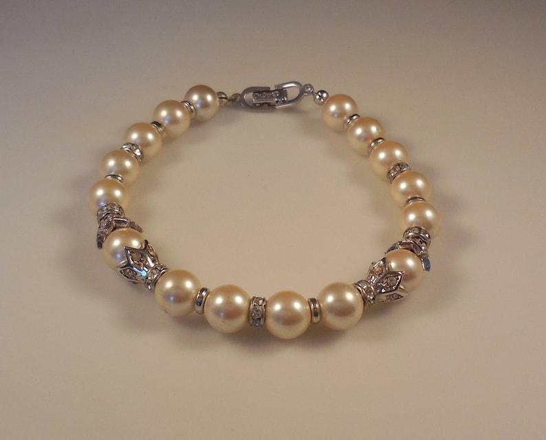 87f6b0928c8 Vintage Christian Dior fausse perle cristal strass Bracelet