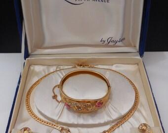 Vintage 1950s La Rachelle Fifth Avenue by Jayson Necklace Bracelet Earrings Light Rose and Crystal Rhinestones Parure