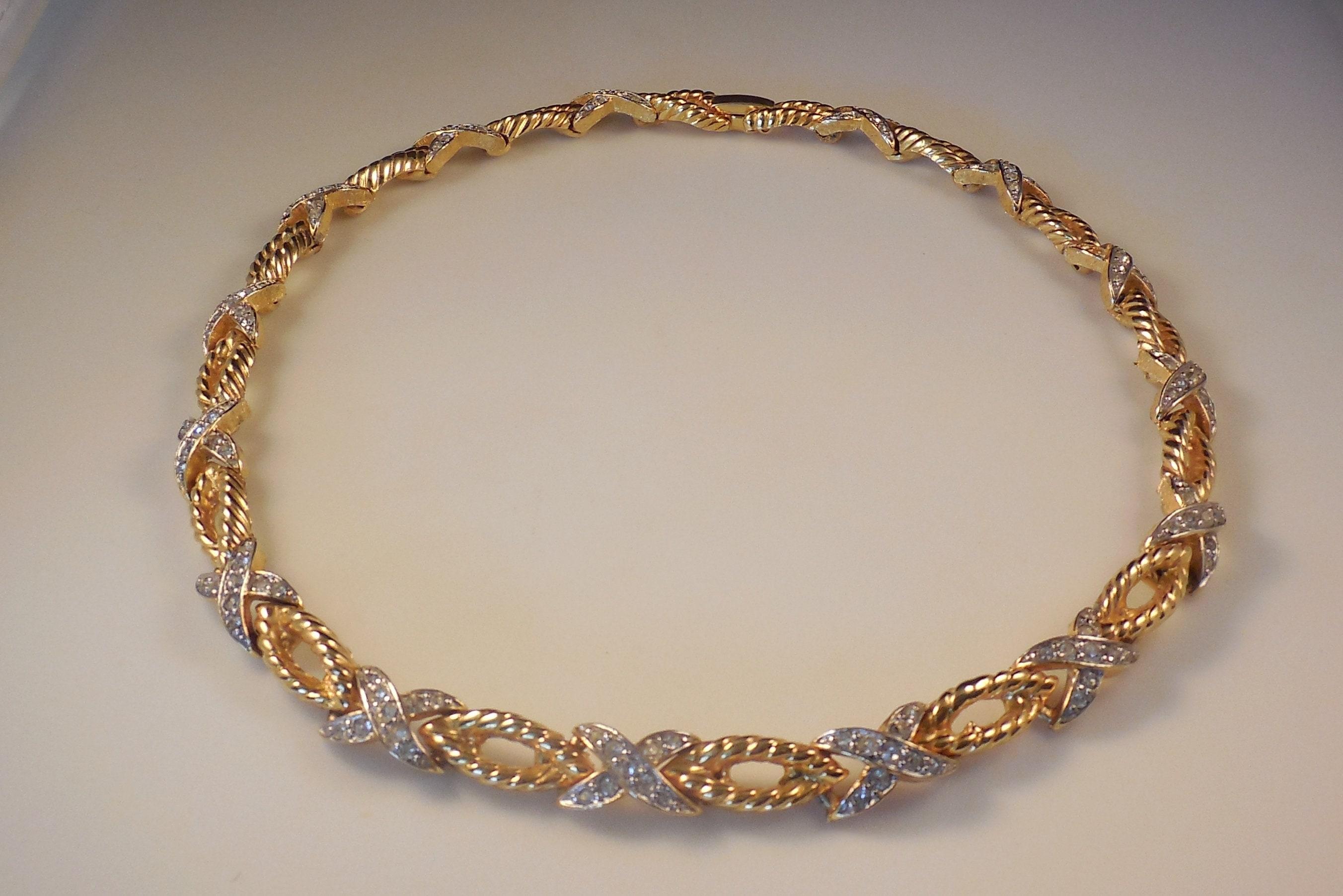 Vintage Jomaz X/'s and O/'s Crystal Rhinestone Choker Necklace Gold Tone