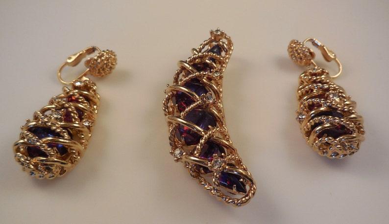 Vintage 1950s Hattie Carnegie Watermelon Rhinestone Brooch Pin Clip Earrings Demi Parure