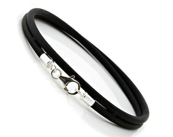 Mens//Ladies 3mm Rubber Bracelet-Sterling Silver Twist Clasp-Rubber Wristband