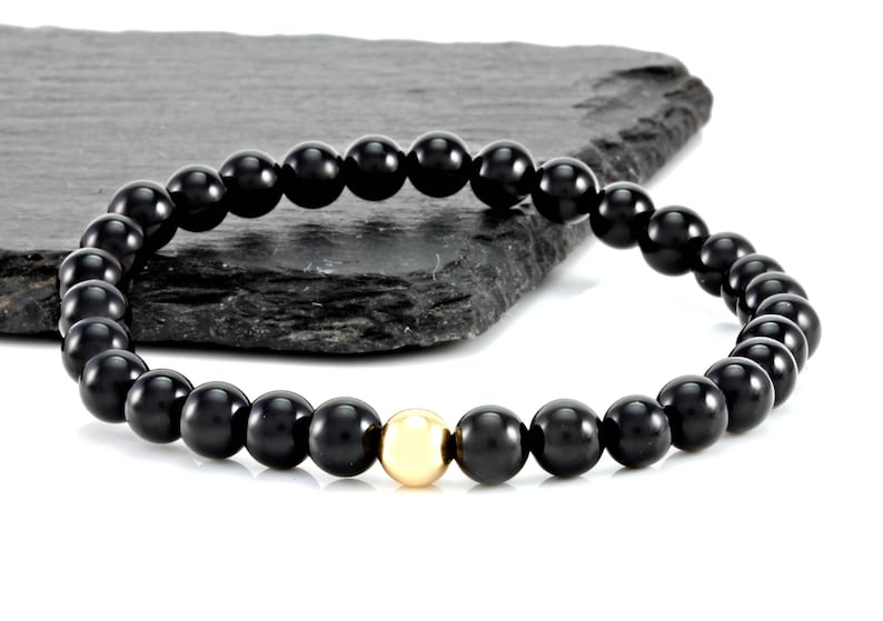 Onyx And Gold Gemstone Bracelet 9ct Bead Mens Beaded