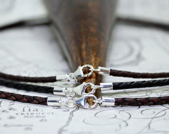 Mens 3mm Braided Leather Necklace with Sterling Silver Ends and Clasp-colour choice