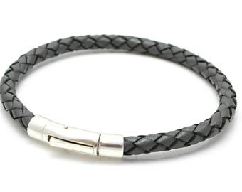 Mens Braided leather Bracelet with Sterling Silver Clasp / Closure - Grey