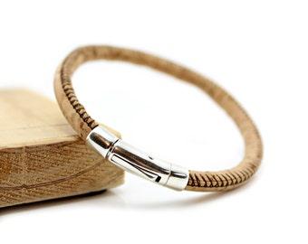 Mens Cork Bracelet with Sterling Silver Clasp / Closure - Natural Portuguese Cork