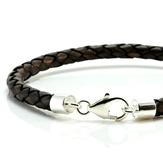 "5mm Black Braided Leather /& Stainless Steel Bracelet ~ 8/"" 9/"" 10/"" etc"
