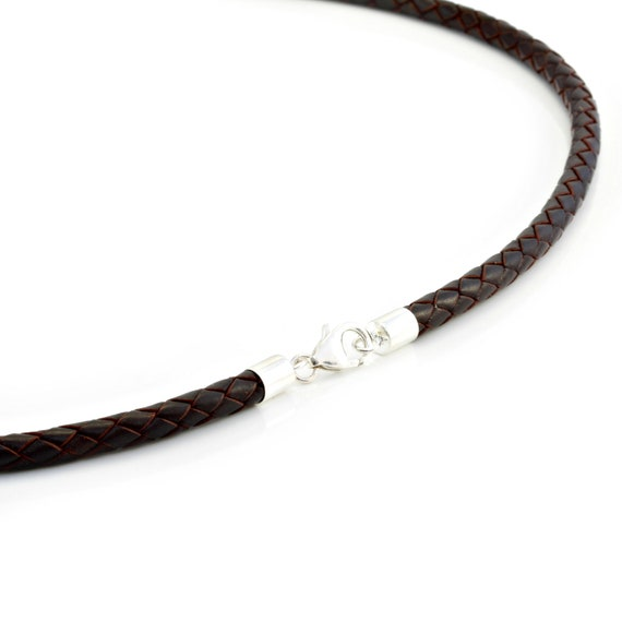 Mens Genuine leather necklace with sterling silver ends and clasp-Real 5mm Thick Leather ThongCord necklace-Dark Brown