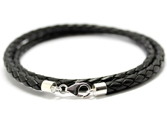5mm Braided leather necklace with sterling silver ends and clasp-Black