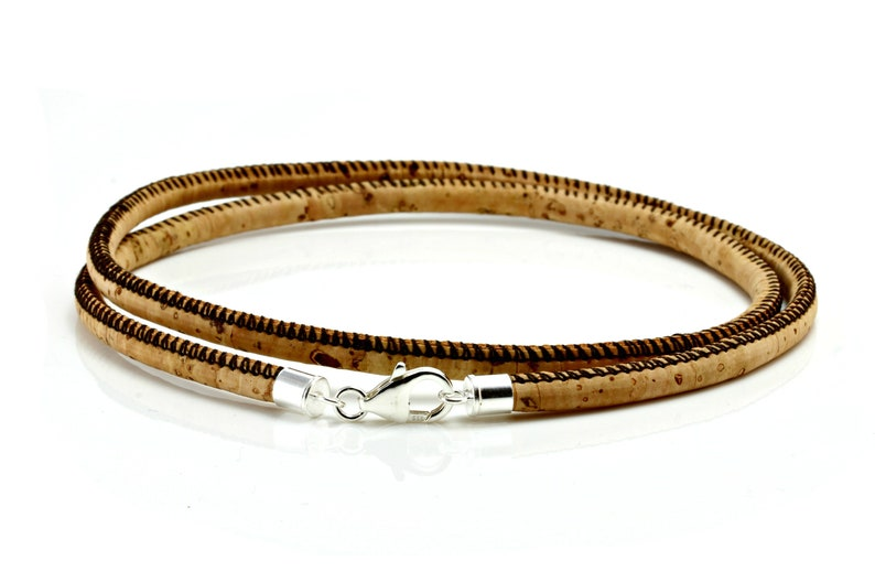 Mens  Ladies Natural Cork Necklace With Sterling Silver Clasp-4mm Portuguese Cork-Vegan Leather Alternative