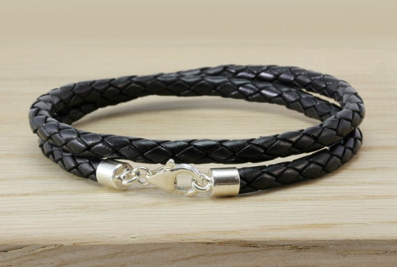 Authentic 925 sterling Double Wrap Braided Blue Leather Bracelets European Chain